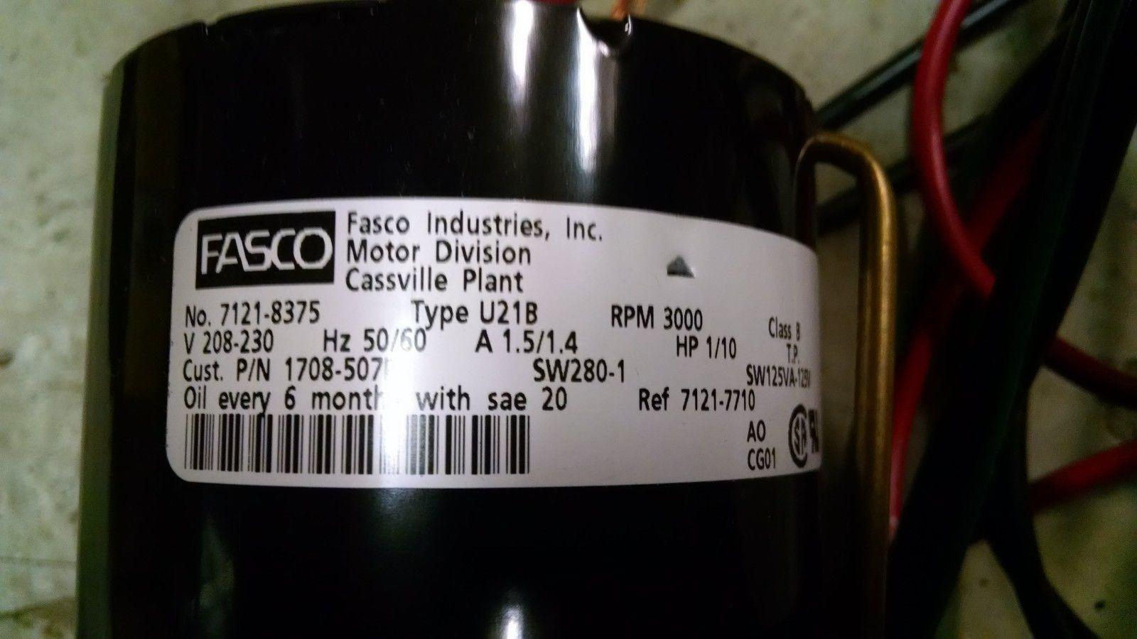 Fasco Fan Motor 7121 8375 Sw280 1 1 10 Hp Type U21b 3000