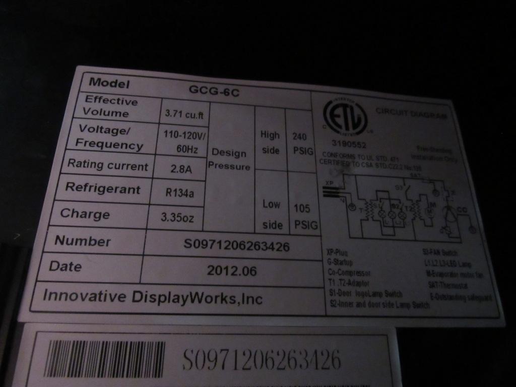 IDW GCG-6C Rockstar Beverage Counter Top Cooler / Refrigerator